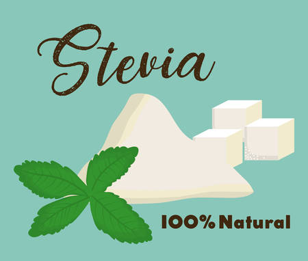 dietary: stevia plant and cubes icon over blue background colorful design vector illustration Illustration