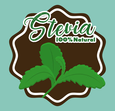 seal stamp with stevia plant icon over blue background colorful design vector illustration