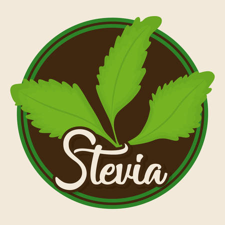 seal stamp with stevia plant icon over white background colorful design vector illustration