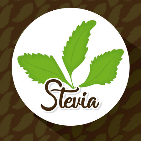 stevia plant icon over white circle and black background colorful design vector illustration Иллюстрация