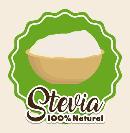 seal stamp with bowl with stevia icon over white background colorful design vector illustration