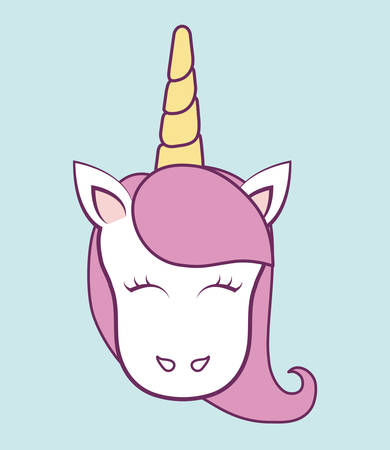 Magical unicorn icon over blue background colorful design vector illustration