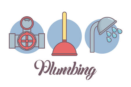 Plumbing service related icons over blue circles and white background colorful design vector illustration