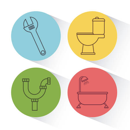 toilet: Plumbing service related icons over colorful circles and white background  vector illustration