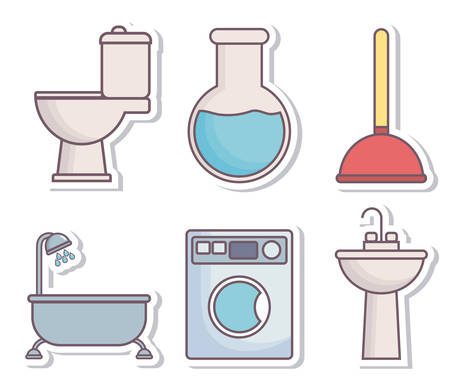toilet: Plumbing service related icons over white background colorful design vector illustration Illustration