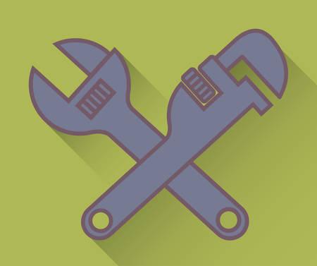 Clé et une clé à pipe icône sur fond vert design coloré vector illustration