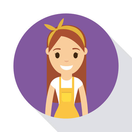 Cartoon artist woman icon over circle and white background colorful design vector illustration