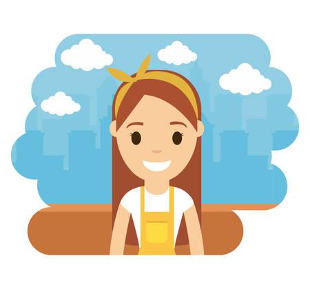 cartoon artist icon over city landscape background colorful design vector illustration
