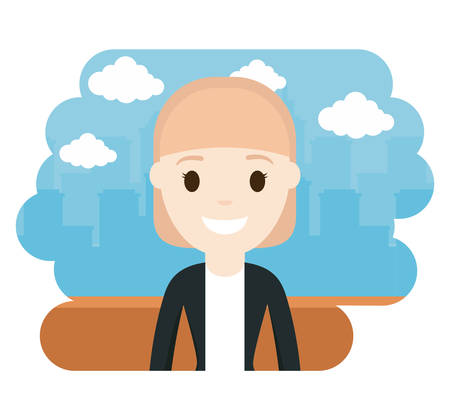 cartoon lawyer icon over city landscape background colorful design vector illustration Illustration