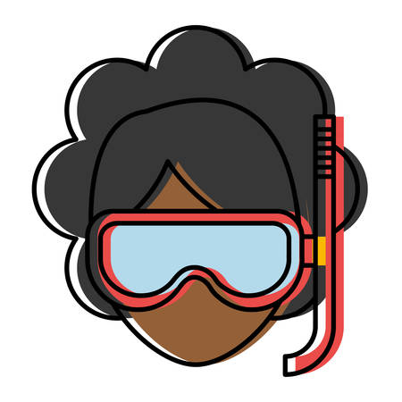 woman with snorkel mask icon over white background colorful design  vector illustration Illustration