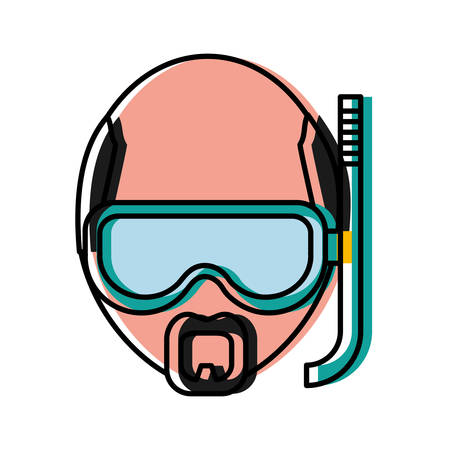man with snorkel mask icon over white background colorful design vector illustration