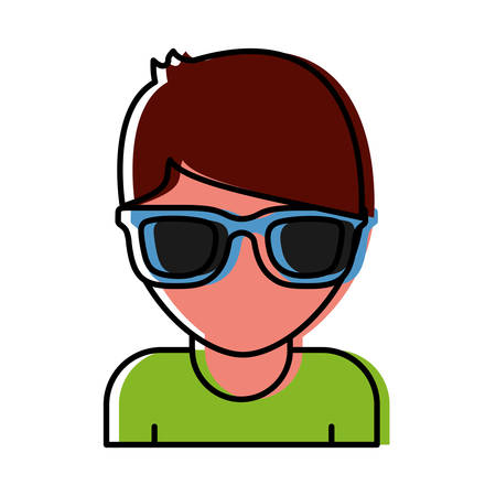 man with sunglasses icon over white background vector illustration