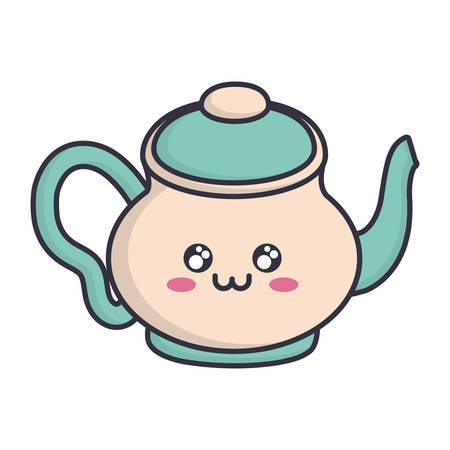 kawaii tea pot icon over white background vector illustration