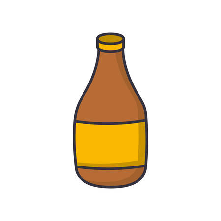 A beer bottle icon over white background vector illustration.