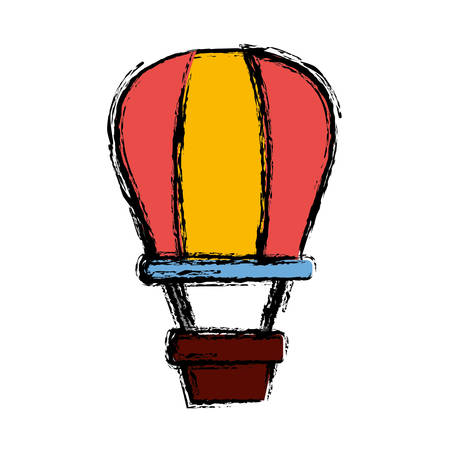 A hot air balloon icon over white background vector illustration