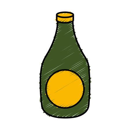 beer bottle icon over white background vector illustration