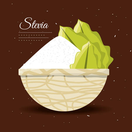 stevia natural sweetener inside bowl vector illustration