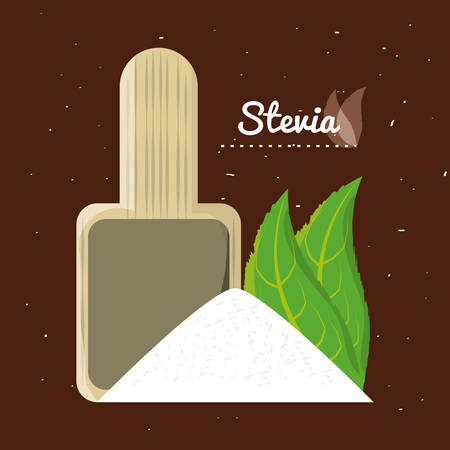 stevia natural sweetener leaves and spoon vector illustration