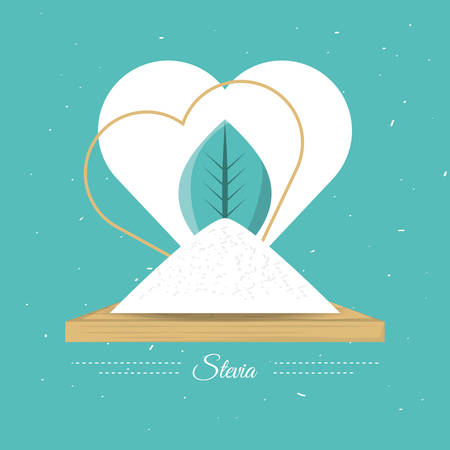 stevia natural sweetener with leaves vector illustration