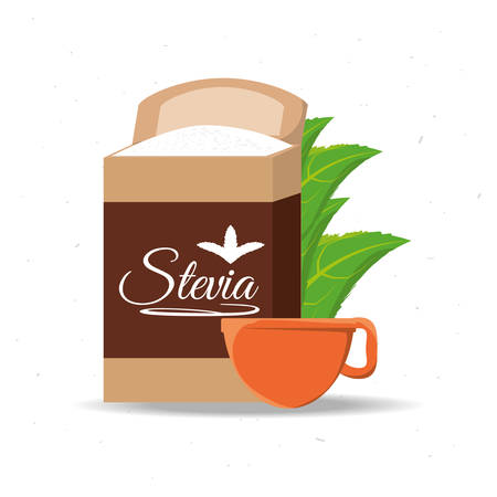 stevia natural sweetener packet and leaves vector illustration Illustration