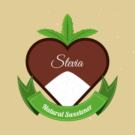 stevia natural sweetener with leaves label vector illustration