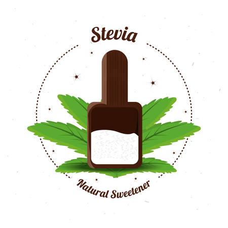 stevia natural sweetener inside spoon vector illustration Illustration