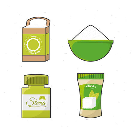 stevia natural sweetener leaves and differents products vector illustration Illustration