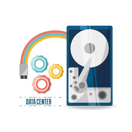 host: connecting information with data center vector illustration