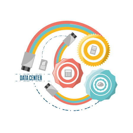 host: connecting information with diferents device vector illustration