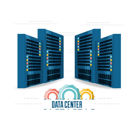 hardware: connecting information with data center vector illustration
