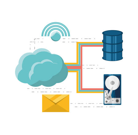 hardware: cloud computing and share information vector illustration