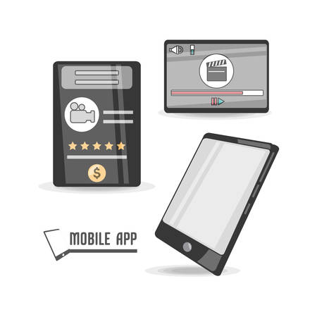 communication concept: technology smartphone with touch screen apps vector illustration Illustration