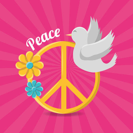 peace and love hippie concept vector illustration Иллюстрация