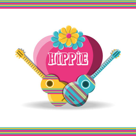 guitar instruments with heart hippie concept vector illustration