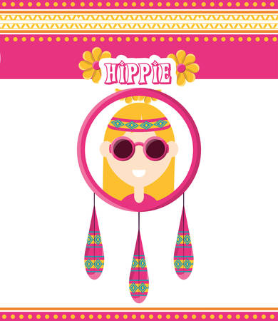 hippie woman concept peace and love vector illustration Illustration