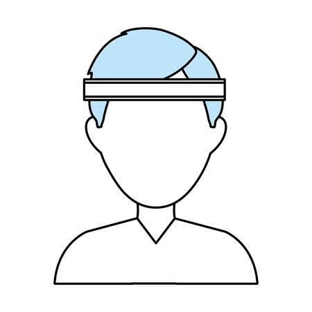 headband: Fitness man wear icon vector illustration graphic design