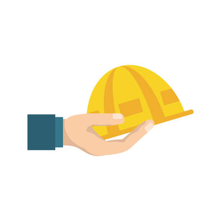 Worker helmet cartoon icon vector illustration graphic design
