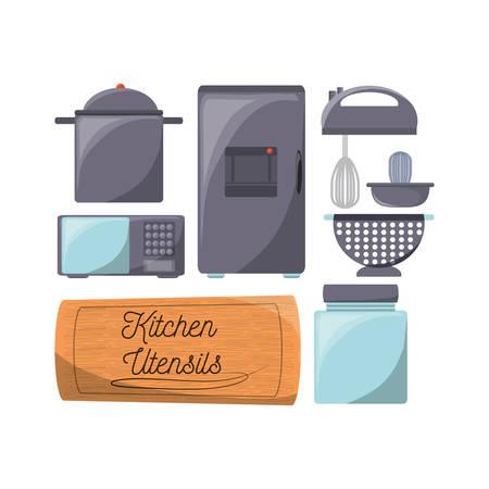 Set of flat kitchen utensils and appliances vector illustration