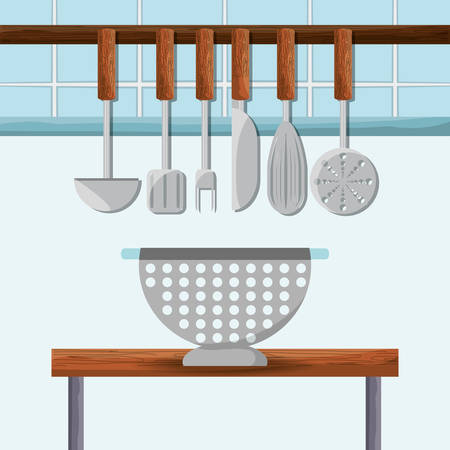 Set of flat utensils kitchen vector illustration design Illustration
