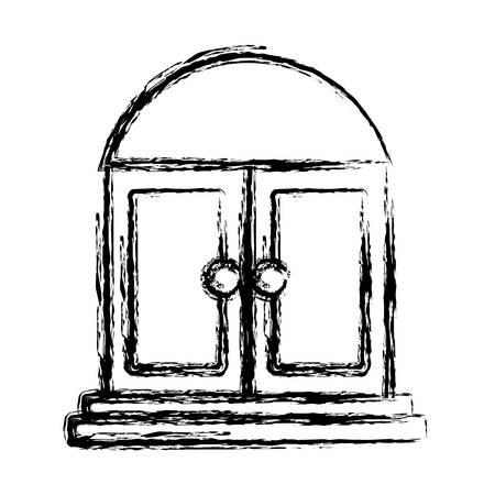 modern living room: door icon over white background vector illustration Illustration