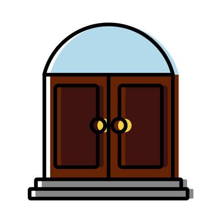 modern living room: Door icon over white background vector illustration