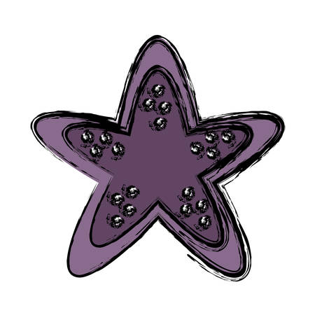 Purple starfish icon over white background vector illustration
