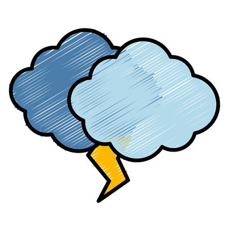 Cloud and thunder icon over white background vector illustration