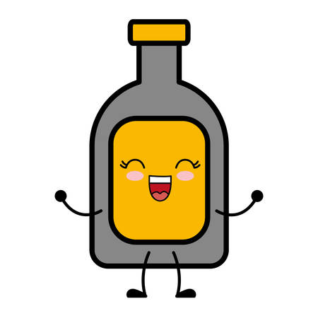 kawaii liquor bottle icon over white background vector illustration