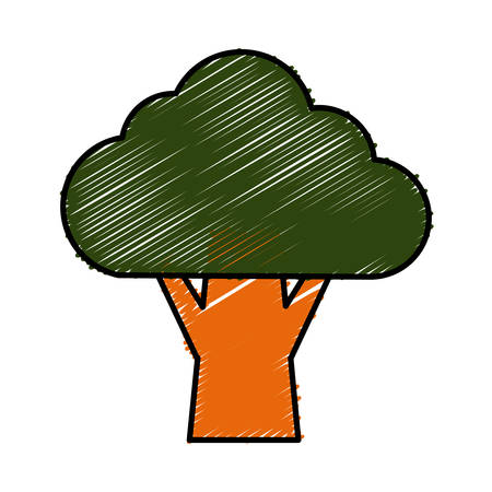 green environment: tree icon over white background vector illustration