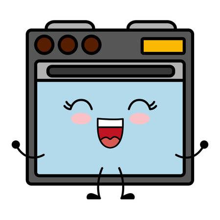 kawaii oven icon over white background vector illustration