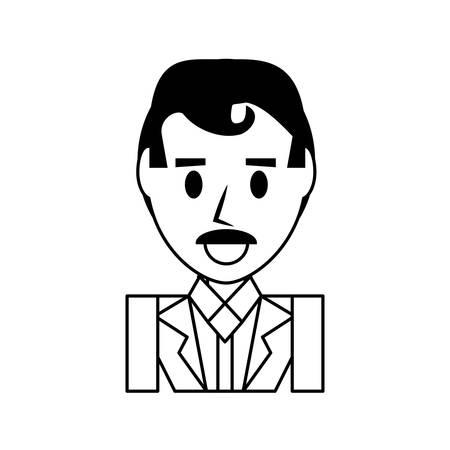ceo: Businessman profile cartoon icon vector illustration graphic design