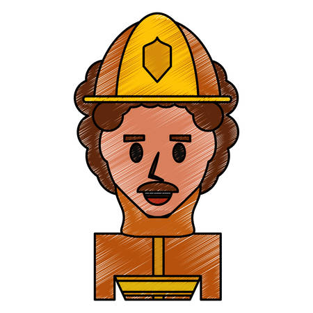 Firefigther profile cartoon icon vector illustration graphic design