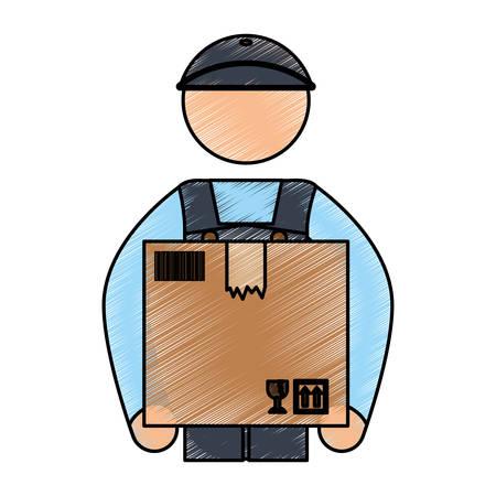 articles: Deliver courier pictogram icon vector illustration graphic design