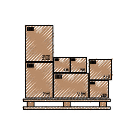 Delivery cardboard boxes icon vector illustration graphic design Иллюстрация